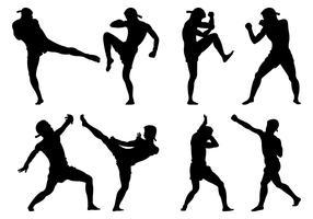 Silhouette Muay Thai Ställ Vektor Samling