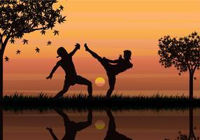 Zwei Mann kämpfen mit Muay Thai Style Vector Illustration Silhouette