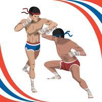 Två man kämpar med Muay thailändsk stil Vector illustration