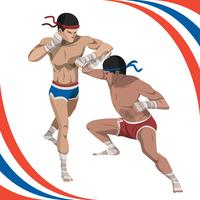 Zwei Mann kämpfen mit Muay Thai Style Vector Illustration