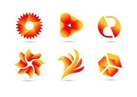 verschiedene goldene und rote Farbverlaufslogo-Sammlung vektor