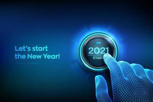 Frohes neues Jahr 2021 Startknopf vektor