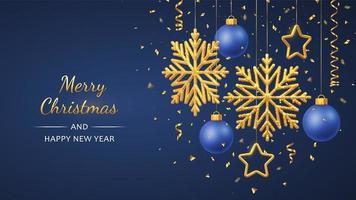 Weihnachtsblauer Hintergrund mit hängenden glänzenden goldenen Schneeflocken
