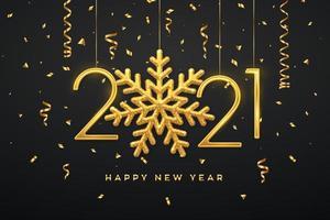 frohes neues Jahr hängende metallische Zahlen 2021