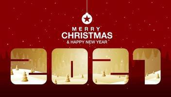 Frohe Weihnachten, Frohes neues Jahr Fantasielandschaft