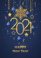 frohes neues Jahr hängende metallische Zahlen 2021 vektor