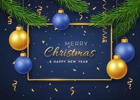 Weihnachtshintergrund mit hängenden goldenen und blauen Kugeln