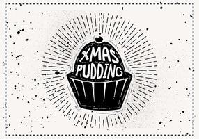 Gratis Vintage Christmas Pudding Siluett Vector Bakgrund