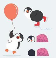 söt pingvin teckenuppsättning vektor