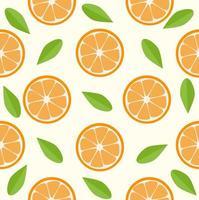 Orangen und Blätter nahtloses Muster vektor