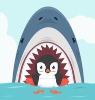 Pinguin schwimmt im aufblasbaren Ring mit Hai