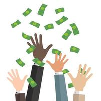 Geschäftshände fangen fallendes Geld vektor