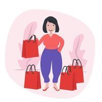 Mädchen hält Einkaufstaschen vektor
