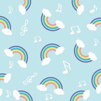 Pastell Regenbogen mit Note nahtloses Muster
