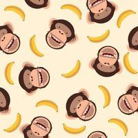söt schimpanshuvud med bananmönster vektor