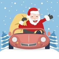 jultomten med röd bil vektor