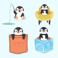 söt liten pingvinuppsättning vektor
