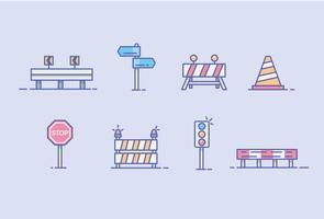 Ikonen der Leitplanke, der Straßensperre und des Verkehrszeichens vektor