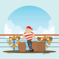 Freie Seemann an der Hafen-Illustration
