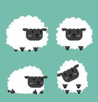 söt svart liten fåruppsättning vektor
