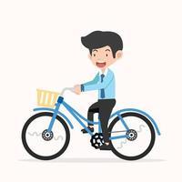 Geschäftsmann, der auf einem blauen Retro-Fahrrad reitet