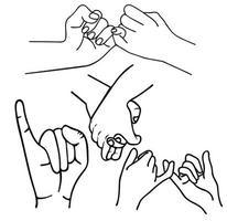 Handgesten Versprechen Umrisse gesetzt vektor