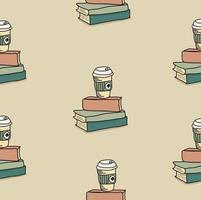 ritning doodle kaffe med bokmönster vektor