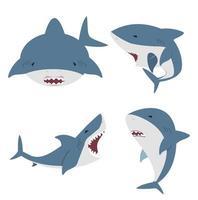 süßes flaches weißes Hai-Set vektor