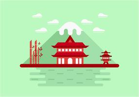 Red Shrine on the Mountain Vector