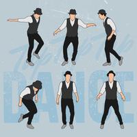 Eleganter Mann, der Retrostil tanzt