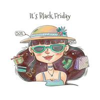 Black Friday-nette Frau mit Verkäufen und Einkaufsvektor vektor