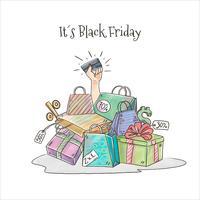 Hand mit Kreditkarte und Taschen für Black Friday Vector