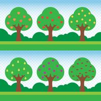 Bäume und Früchte Illustration Set