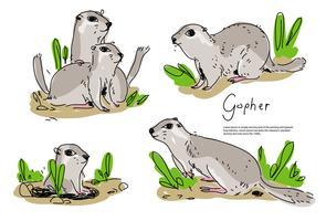 Süße Gopher Pose Hand gezeichnete Vektor Illustration