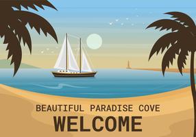 Vacker Paradise Cove Vector Illustration
