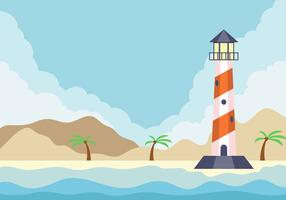 Bucht mit Leuchtturm-Hintergrund vektor
