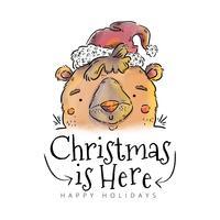 Netter Bären-lächelnder tragender Weihnachtshut und -zitat
