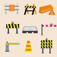 Kostenlose Leitplanke und Straßenverkehrszeichen Vektor