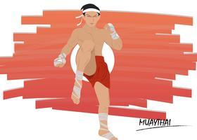 Muay Thai Kampfpose Vektor