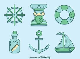 Handdragen sjömanselement vektor
