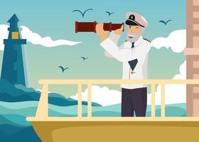 Seemann, der durch Spyglass-Vektor schaut vektor