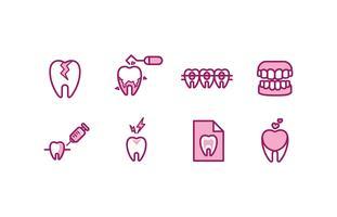 Tandläkars ikonuppsättning vektor