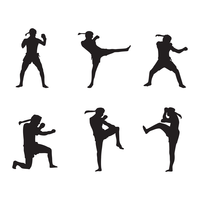 Muay thailändsk logosilhouette vektor