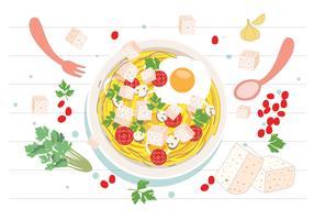 Nudeln mit Tofu-Vektor