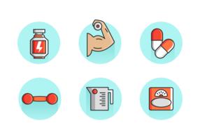 Kosttillskott och bearbeta Vector Icon Pack