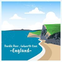 Lulworth-Bucht-England-Postkarten-Illustration vektor