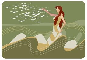 Aphrodite Walking på havet Vector