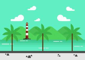 Flache Bucht-Hintergrund-Design vektor