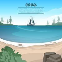 Vacker Cove Beach Vector Illustration