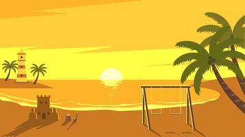 Genießen Sie den Sonnenuntergang in der Bucht Free Vector